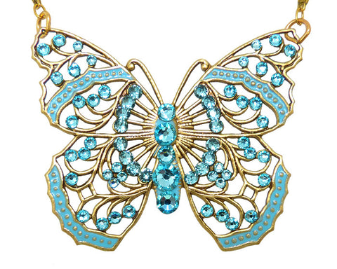 Anne Koplik Large Filigree Enamel Swarovski Crystal Butterfly Necklace NK4579LTU - ILoveThatGift