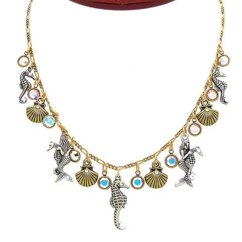Anne Koplik Sea Creature Party Crystal Necklace NK4720CAB Silver Gold Seahorse Mermaid Shells