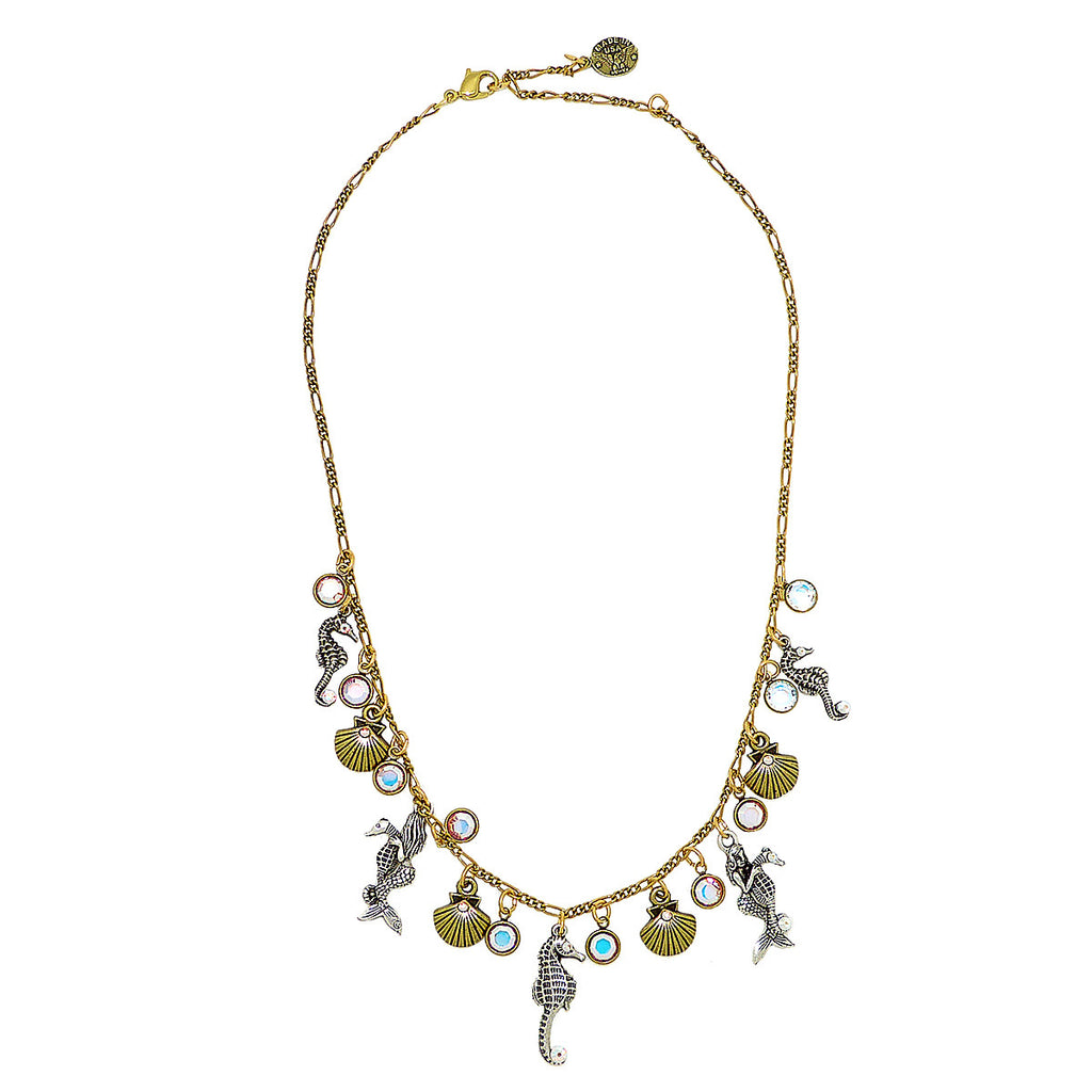 Anne Koplik Sea Creature Party Crystal Necklace NK4720CAB Silver Gold Seahorse Mermaid Shells - ILoveThatGift
