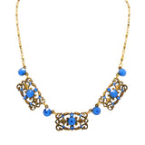 Anne Koplik 3 Stoned Fila Frame Necklace NK4749RBL Gold Blue - ILoveThatGift
