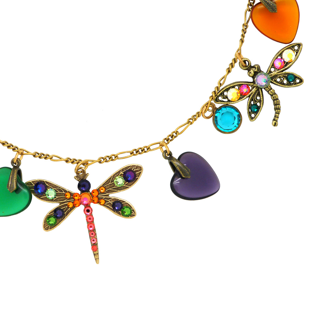 Anne Koplik Heart & Dragonfly Necklace with Swarovski Crystals NK4762MUL - ILoveThatGift