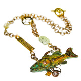 Mullanium Necklace Verdigris Green Fish Steampunk Handmade Artists Jim Tori Mullan - ILoveThatGift