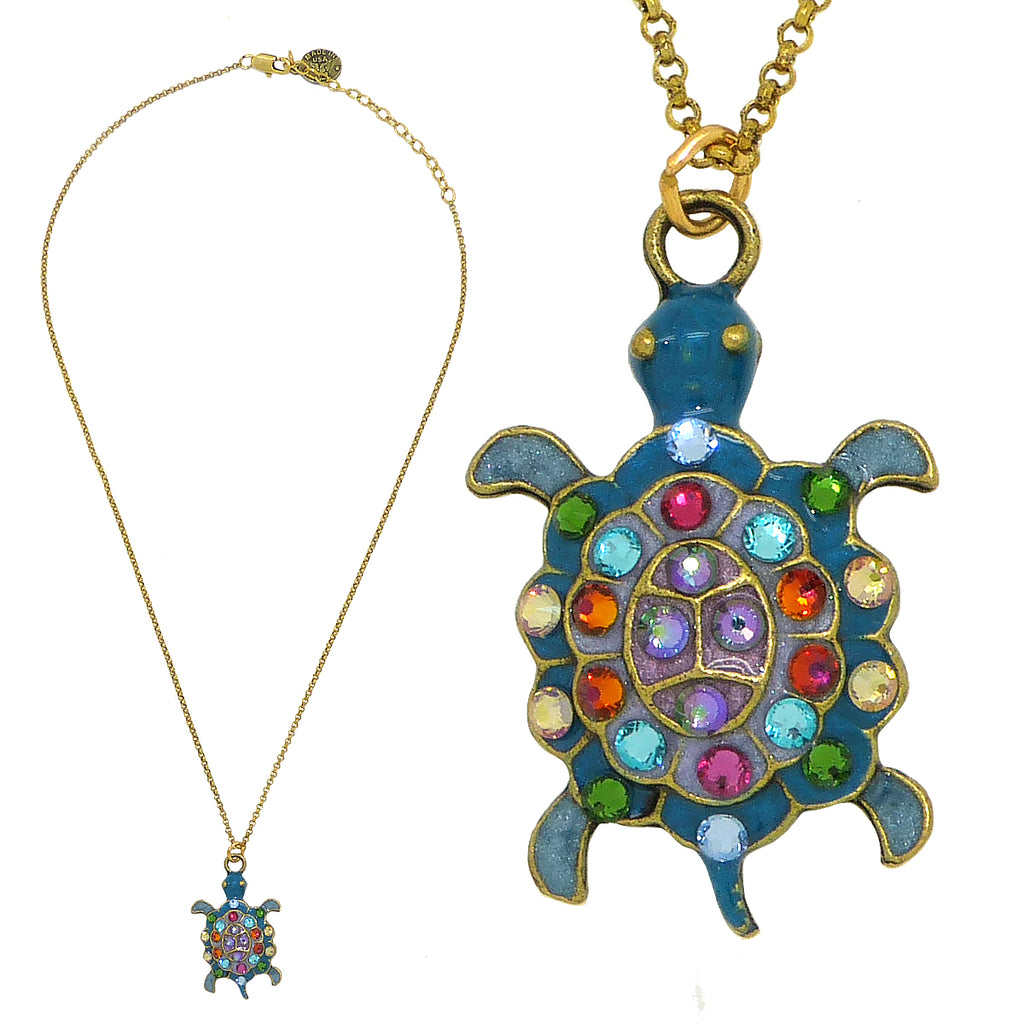 Anne Koplik Turtle Pendant Necklace Swarovski Crystal Necklace Sea Life NKG101 - ILoveThatGift