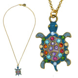 Anne Koplik Turtle Pendant Necklace Swarovski Crystal Necklace Sea Life NKG101