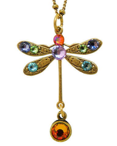 Anne Koplik Swarovski Crystal Single Dragonfly Necklace NKG103MUL Multicolor Gol - ILoveThatGift