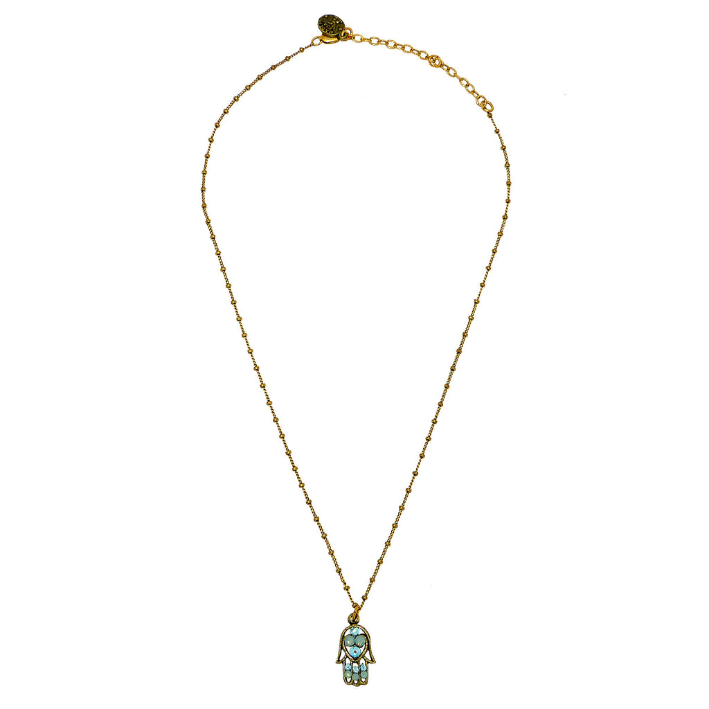 Anne Koplik Hamsa Hand Pendant Necklace Antique Gold Plated Swarovski Jewish - ILoveThatGift