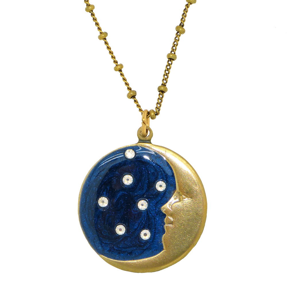 Anne Koplik Enamel Crescent Moon Stars Pendant Necklace Antique Gold Plated Swarovski - ILoveThatGift