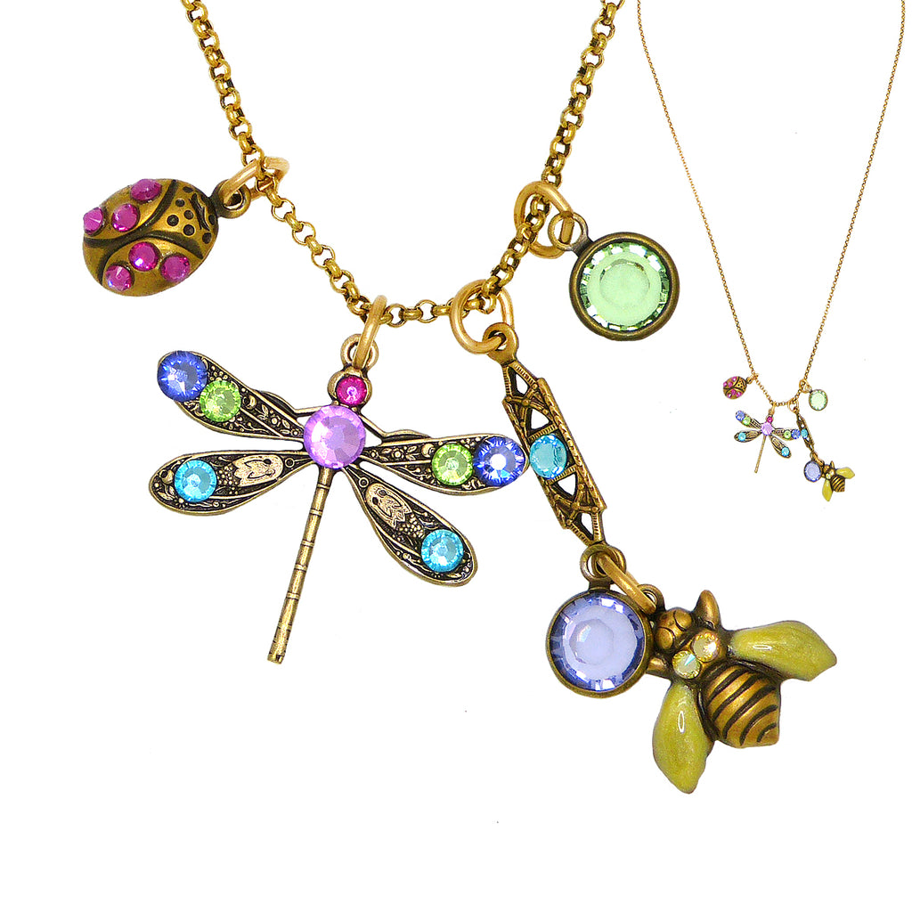 Anne Koplik Dragonfly Bumble Bee Ladybug Jumble Pendant Necklace Swarovski Crystals NKJ100LUM - ILoveThatGift