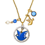 Anne Koplik Blue Bird Dove Pearl Jumble Pendant Necklace Swarovski Crystals NKJ103BLU