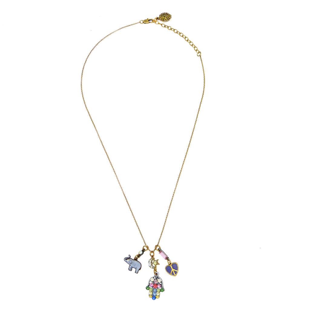 Anne Koplik Luck Hamsa Elephant Peace Heart Charm Pendant Necklace Swarovski Crystals NKJ115LUCK - ILoveThatGift