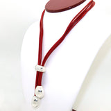 Simon Sebbag Short Poppy Red Leather Y Necklace Lariat Sterling Silver 925 Drops NL108POP - ILoveThatGift