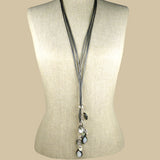 Simon Sebbag Leather Lasso Gunmetal Pearl Necklace  Sterling Silver Drops NL124GM - ILoveThatGift
