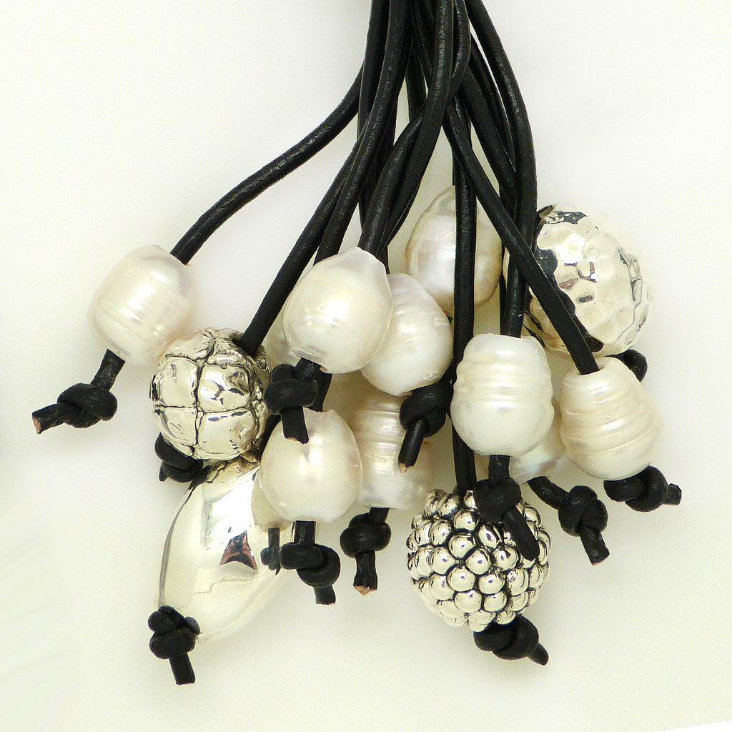 Simon Sebbag Black Leather White Pearl Necklace Sterling Silver Beads NL126BLKP - ILoveThatGift