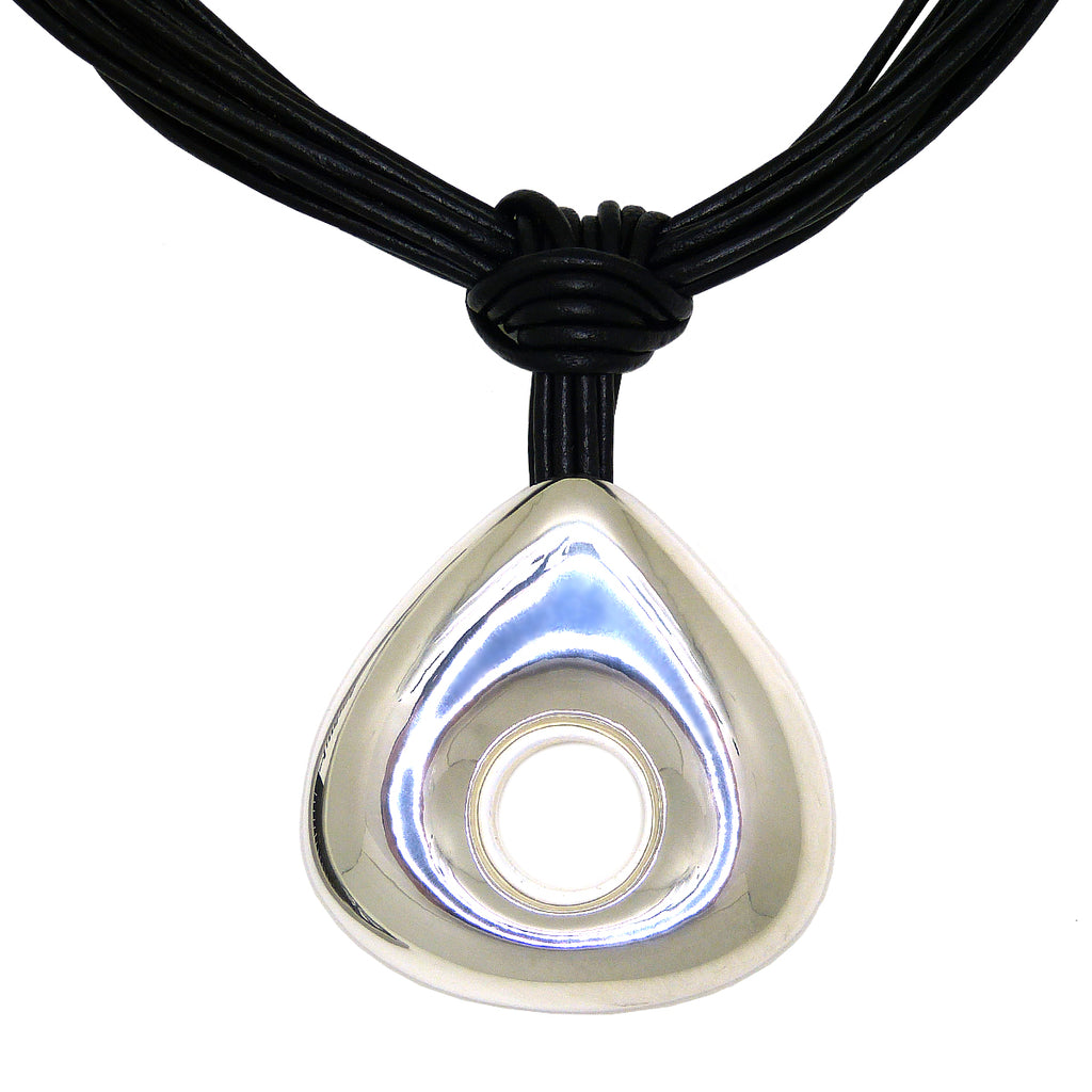 Simon Sebbag Black Leather Necklace Sterling Silver 925 Open Pendant NL147BLK - ILoveThatGift