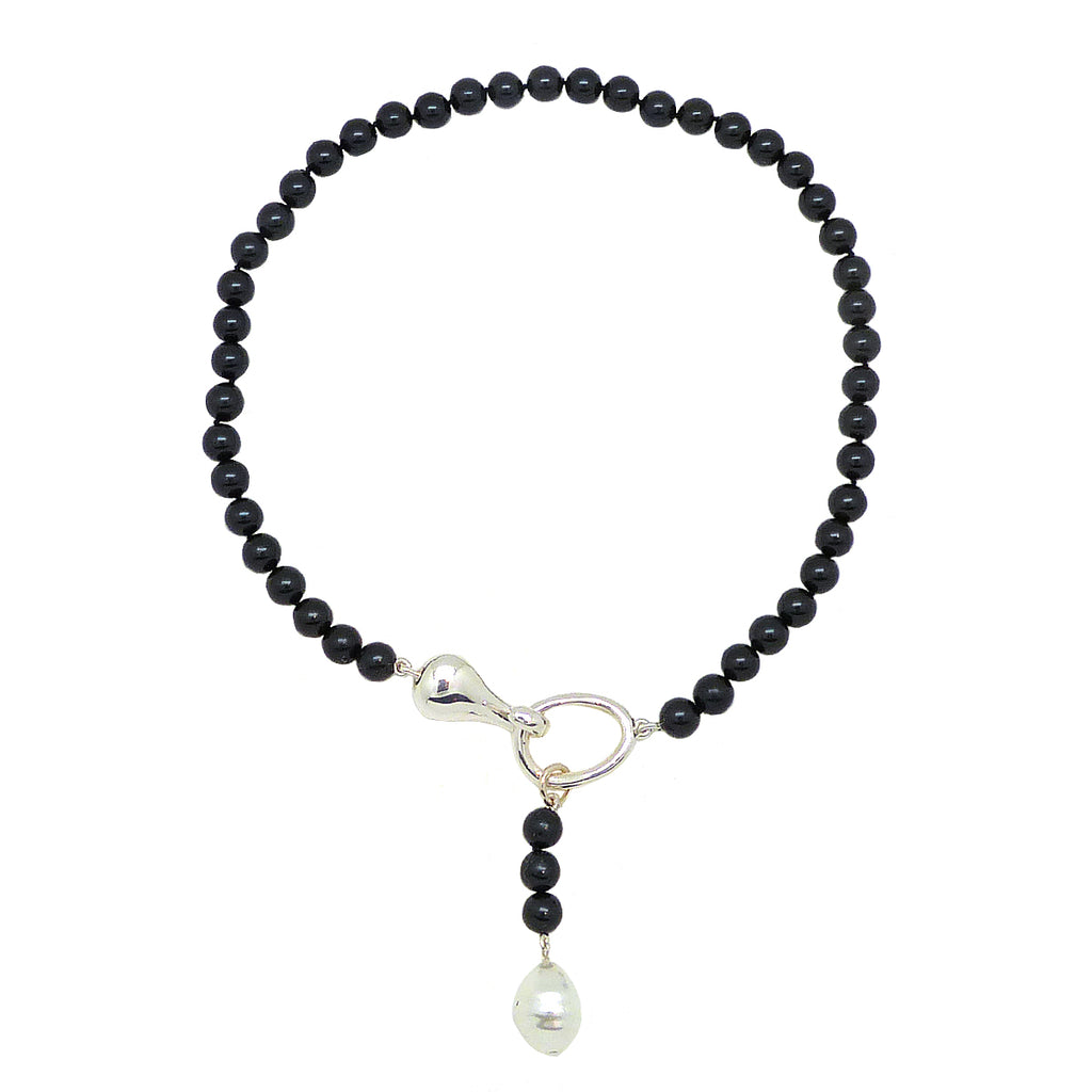 Simon Sebbag Sterling Silver Hook Round Black Bead Baroque Pearl Necklace NP27BLKBSP - ILoveThatGift