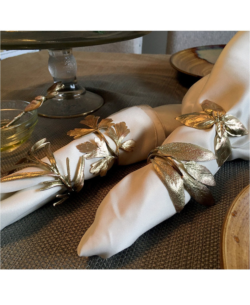 Michael Michaud Herb Assorted Napkin Rings Set for 8 from Silver Seasons - ILoveThatGift