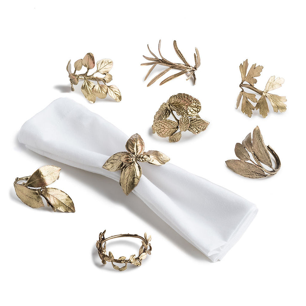 Michael Michaud Herb Assorted Napkin Rings Set for 8 from Silver Seasons