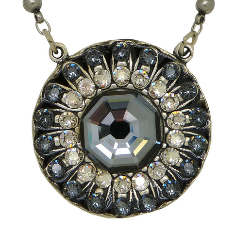 Anne Koplik Dark Silver Knight Pendant Swarovski Crystal Necklace NS3053SNT