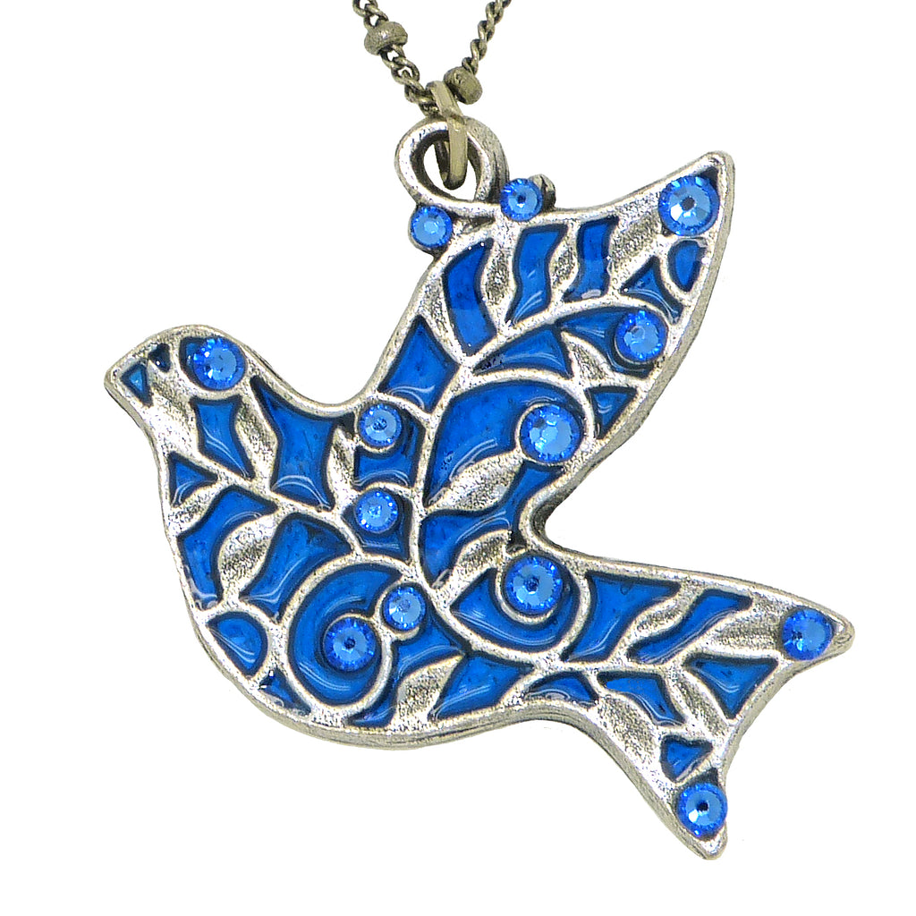 Anne Koplik Blue Bird Vines Pendant Swarovski Crystal Necklace NS3173BLU - ILoveThatGift
