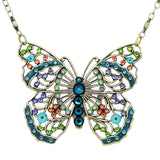 Anne Koplik Large Openwork Blue Butterfly Necklace Swarovski Crystal NS3176DEN