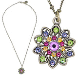 Anne Koplik Flower Pendant Necklace Silver Plated with Swarovski Crystals NSG406MUL
