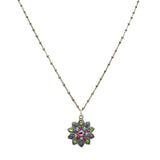 Anne Koplik Flower Pendant Necklace Silver Plated with Swarovski Crystals NSG406MUL - ILoveThatGift