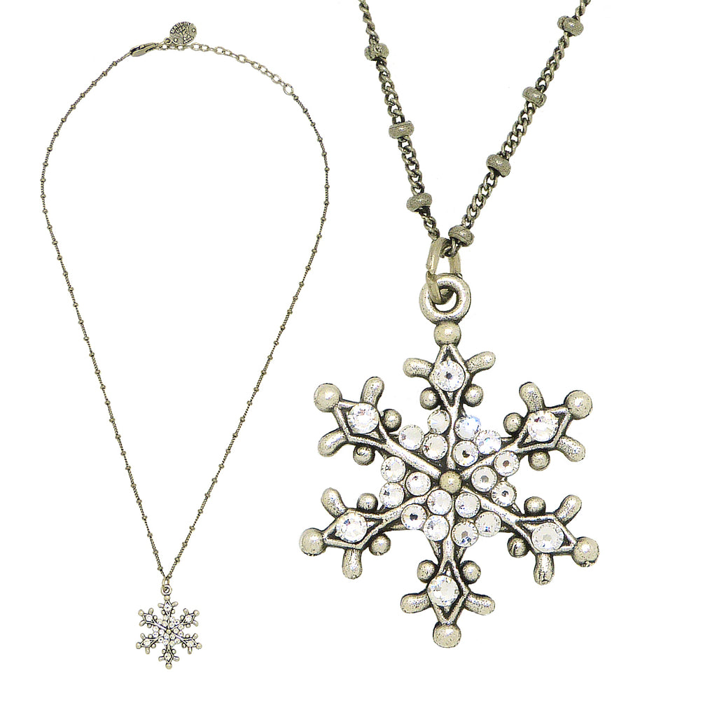 Anne Koplik Snowflake Pendant Necklace Silver Plated with Swarovski Crystals NSG417CRY - ILoveThatGift