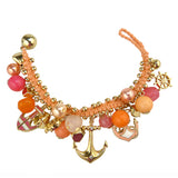 Anchor Charm Ocean Pearl Bead Nautical Silver Orange Pink  Bracelet - ILoveThatGift