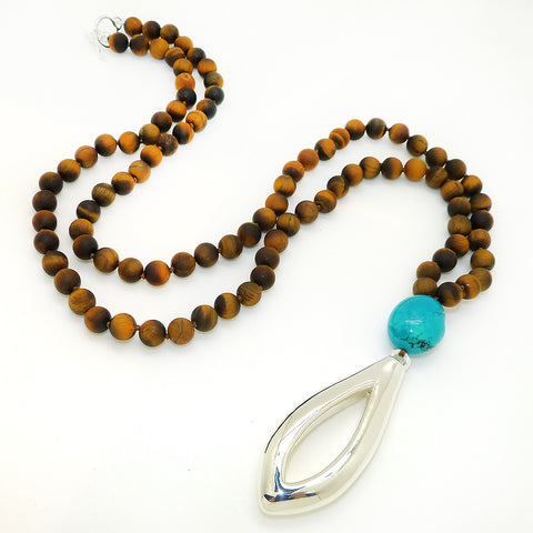 Matte Tigers Eye & Turquoise Long Necklace Sterling Silver Simon Sebbag Necklace Pendant PN415MTE-TQ - ILoveThatGift