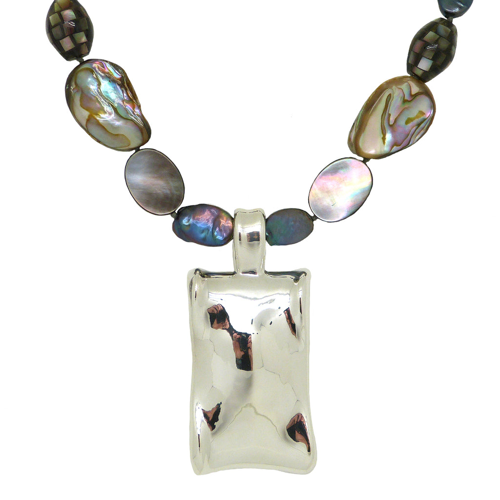 Simon Sebbag Abalone MOP Shell Necklace Sterling Silver 925 Rectangular Pendant