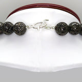 Simon Sebbag Sterling Gunmetal Plated Lava Necklace with Hammered Silver 925 Pendant & Beads SSD PN537MPL - ILoveThatGift