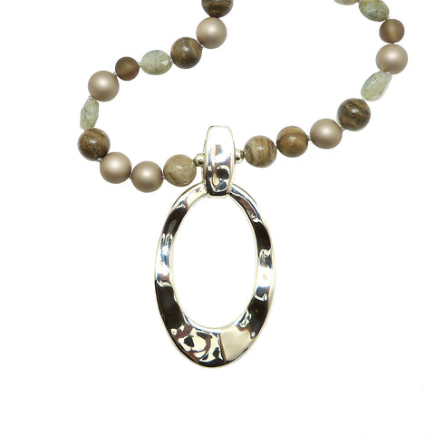 Camouflage Taupe Gray Pearl Sterling Silver Simon Sebbag Necklace Oval Pendant PN590CM36 - ILoveThatGift