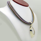 Simon Sebbag Leather Necklace Lilac Sand Gray Open Sterling Silver Pendant - ILoveThatGift