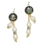 Gigi & Sugar Pearl Drop Earrings with Smoke Crystal Handmade