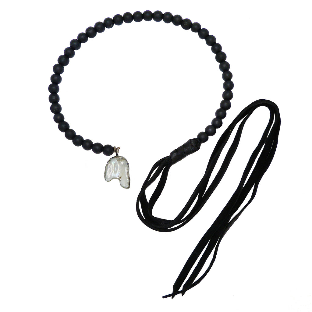 Gigi & Sugar White Pearl Black Bead & Deerskin Leather Necklace Lariat Penny - ILoveThatGift