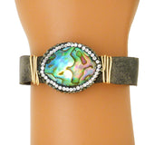 Gigi & Sugar Brown Leather Multicolor Pearl Gold Wire Snap Bracelet Handmade - ILoveThatGift