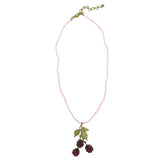 "Raspberry Garnet 15"" Pendant Pearl Necklace by Michael Michaud 8112"