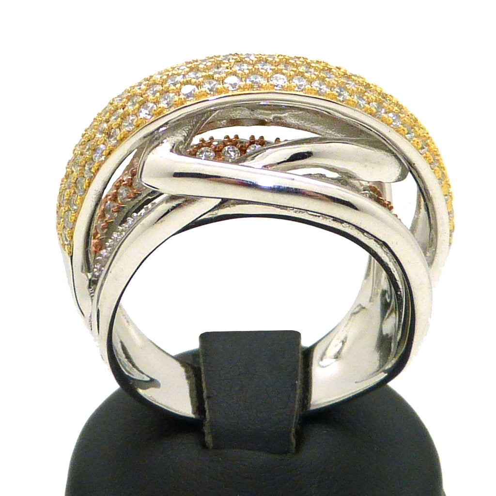 925 TriColor Sterling Silver Italian Pave Smooth Finish Crossover Ring Size 7.5 - ILoveThatGift