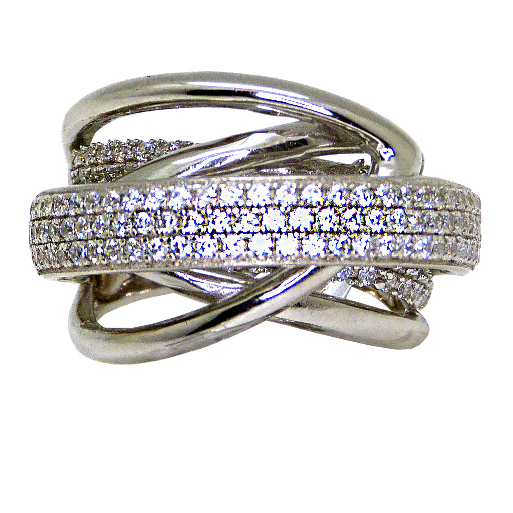 925 Sterling Silver Italian Pave Smooth Finish Crossover Ring Size 7.5 - ILoveThatGift