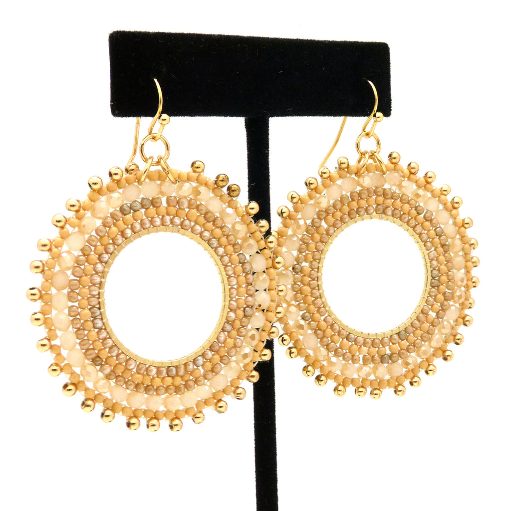 NahMu Beaded Crystal Round Circle Earrings Natural Tan 758 NWT - ILoveThatGift
