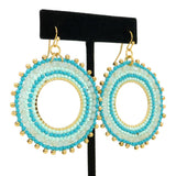 NahMu Beaded Crystal Round Circle Earrings Turquoise Blue 758 NWT