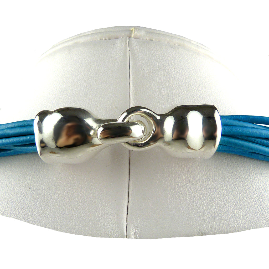 "Simon Sebbag Leather Necklace Royal Blue Add Sterling Silver Slide 16"" - ILoveThatGift"