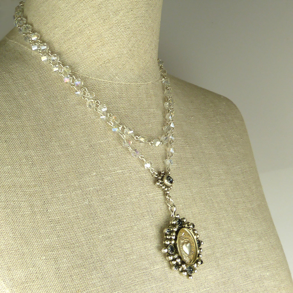 Virgins Saints & Angels Sacred Heart Silver Oval Rosary Necklace Clear Bicone - ILoveThatGift