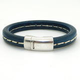 Gigi & Sugar Men's Blue Stitch Leather Bracelet Handmade