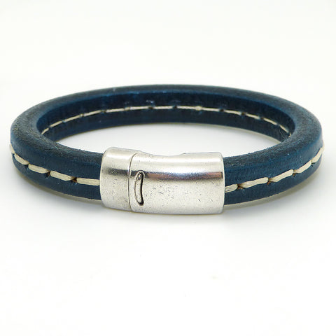 Gigi & Sugar Men's Blue Stitch Leather Bracelet Handmade - ILoveThatGift