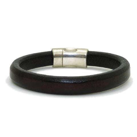 Gigi & Sugar Men's Dark Red Brown Leather Bracelet Handmade - ILoveThatGift