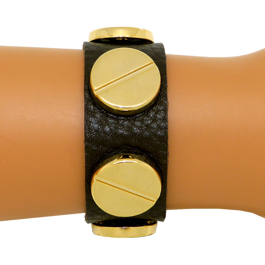 Soft Leather Bracelet Large Screw Dark Brown or Saddle wear with CC Skye - ILoveThatGift