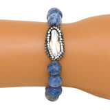 Gigi & Sugar White Pearl Rhinestone Stretch Blue Beads Stretch Bracelet - ILoveThatGift