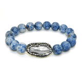 Gigi & Sugar White Pearl Rhinestone Stretch Blue Beads Stretch Bracelet
