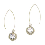 Gigi & Sugar Statement Drop Dangle CZ Earrings in Silver Mount